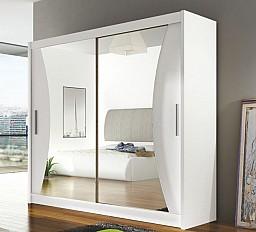 Zrcadlová šatní skříň BEGA 5 - šířka 180 cm Bílá