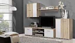 Menší moderní obývací stěna PACO LUX Dub Sonoma / bílá
