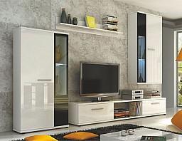 Stěna do obývacího pokoje MALTON Bílá lesk