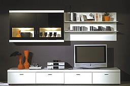 Obývací stěna LAUSANNE bílá/černé sklo
